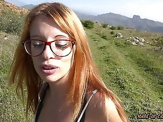 Sex in mountains blowjob brunette tits