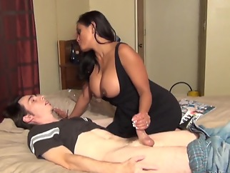 StepMother Gives StepSon HJ hd handjob big tits
