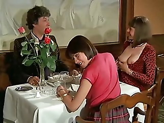 Group Sex Around a Table blonde brunette group sex