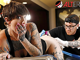 Sully has her pussy tattooed while being ass fucked anal blowjob brunette