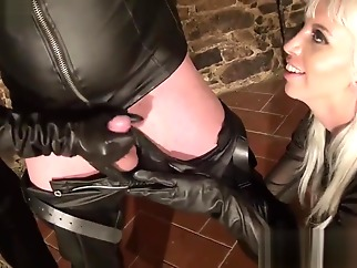 Double Drained Leather Slave blonde straight brunette